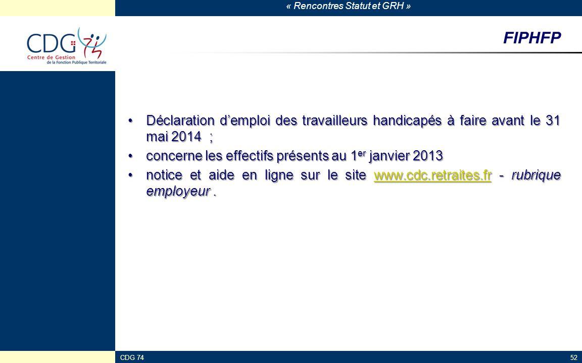 « Rencontres Statut et GRH » CDG 7452 FIPHFP Déclaration d'emploi des travailleurs handicapés à faire avant le 31 mai 2014 ;Déclaration d'emploi des t