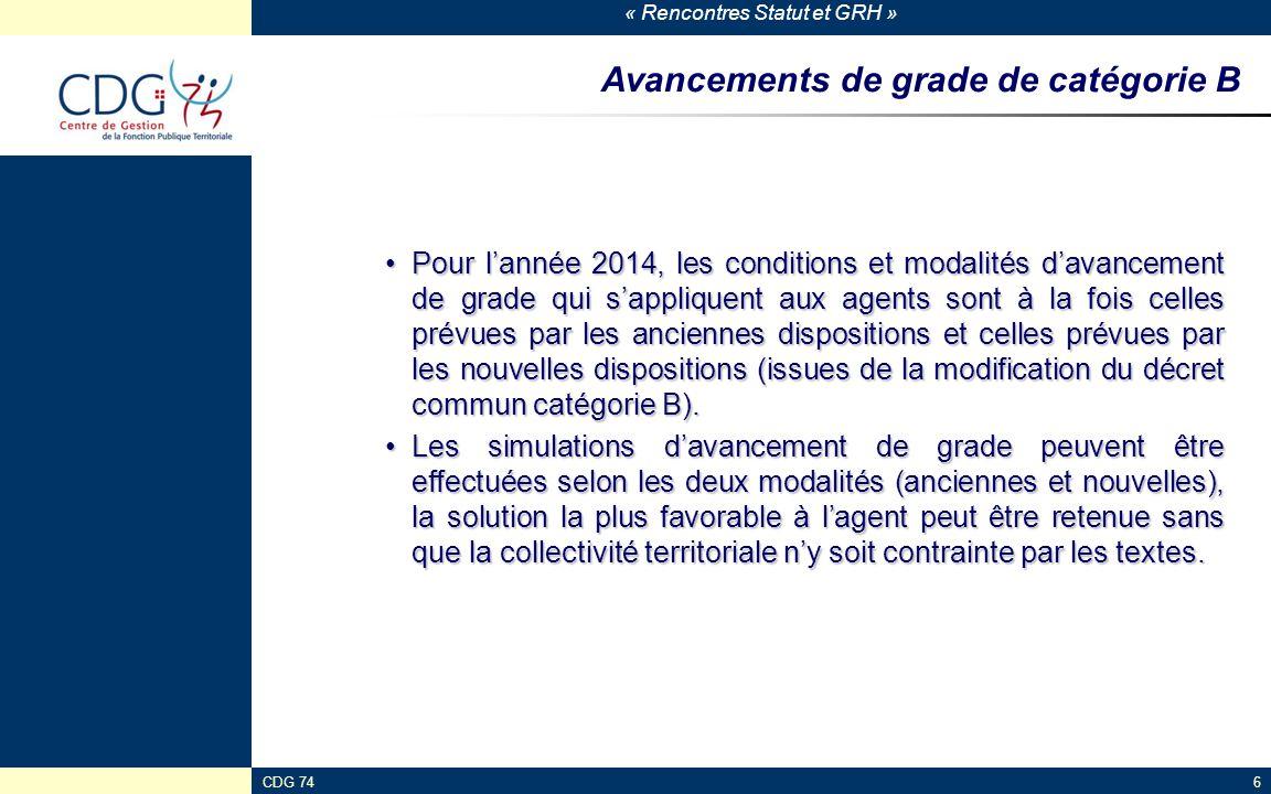 « Rencontres Statut et GRH » CDG 746 Avancements de grade de catégorie B Pour l'année 2014, les conditions et modalités d'avancement de grade qui s'ap