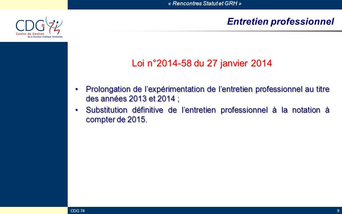« Rencontres Statut et GRH » CDG 749 Entretien professionnel Loi n°2014-58 du 27 janvier 2014 Prolongation de l'expérimentation de l'entretien profess