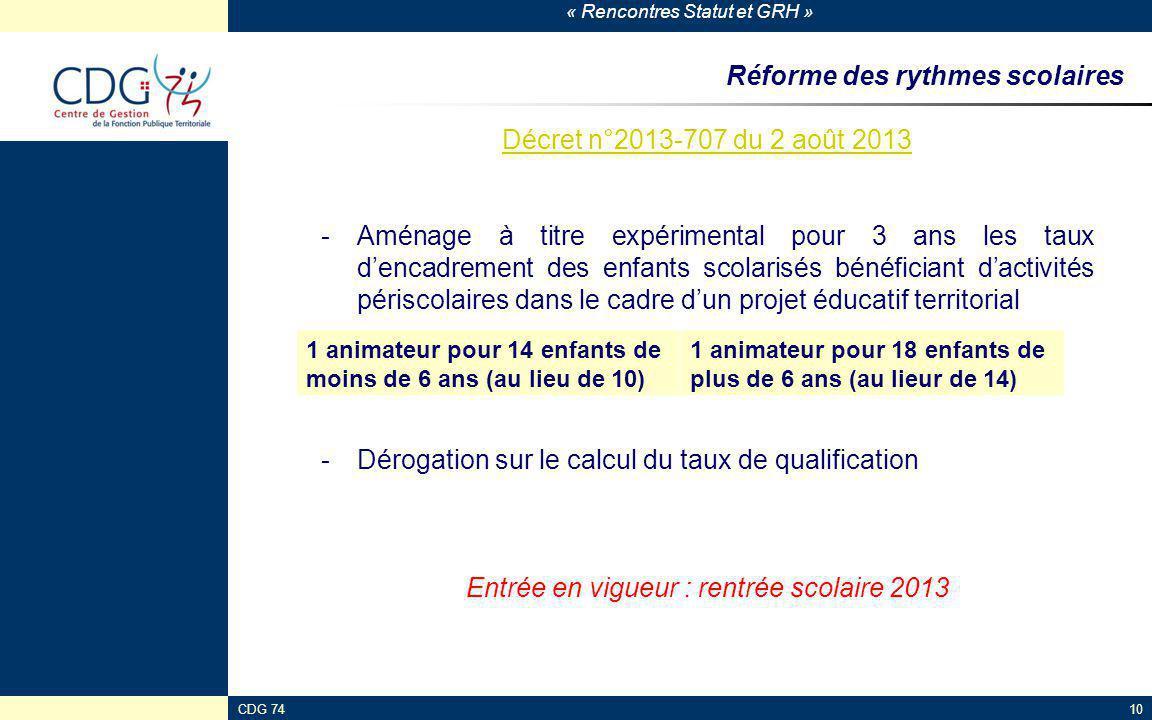« Rencontres Statut et GRH » CDG 7410 Réforme des rythmes scolaires Décret n°2013-707 du 2 août 2013 -Aménage à titre expérimental pour 3 ans les taux