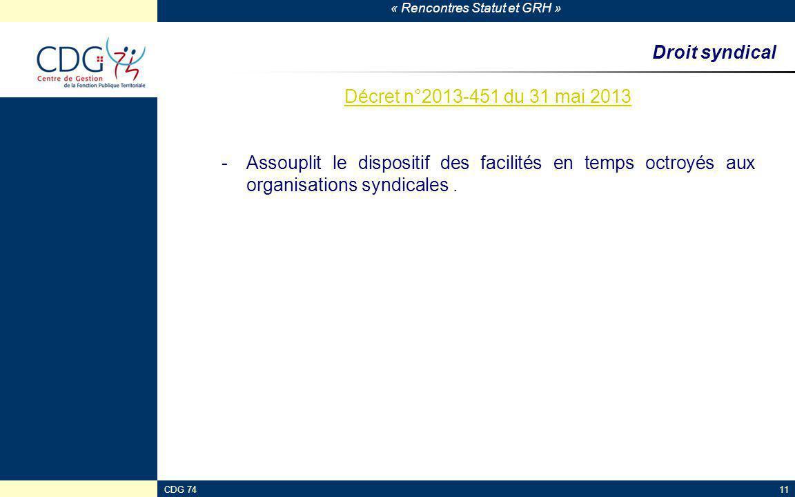 « Rencontres Statut et GRH » CDG 7411 Droit syndical Décret n°2013-451 du 31 mai 2013 -Assouplit le dispositif des facilités en temps octroyés aux org