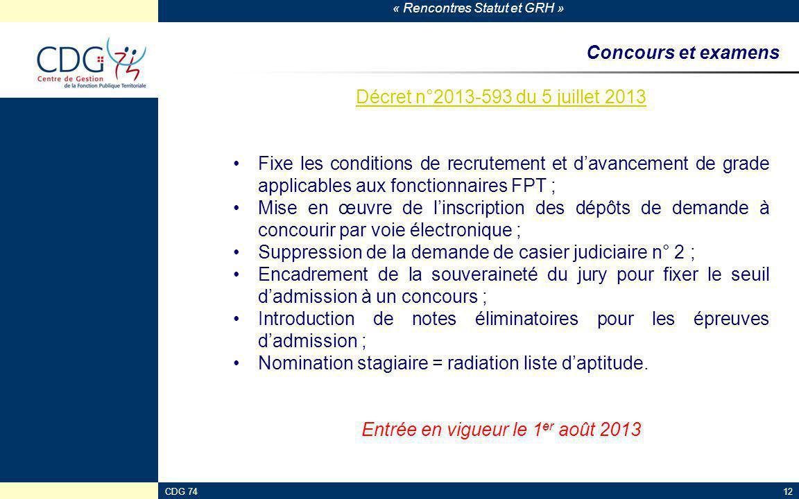 « Rencontres Statut et GRH » CDG 7412 Concours et examens Décret n°2013-593 du 5 juillet 2013 Fixe les conditions de recrutement et d'avancement de gr