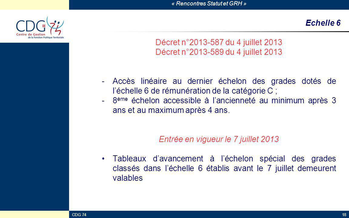 « Rencontres Statut et GRH » CDG 7418 Echelle 6 Décret n°2013-587 du 4 juillet 2013 Décret n°2013-589 du 4 juillet 2013 -Accès linéaire au dernier éch