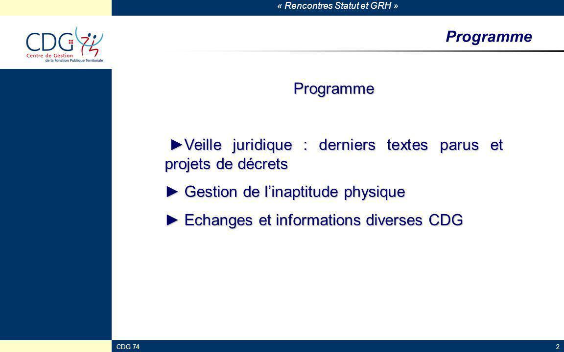 « Rencontres Statut et GRH » CDG 7423 Assurance chômage Loi n°2013-504 du 14 juin 2013 Circulaire UNEDIC 2013-17 du 29 juillet 2013 Lettre circulaire ACOSS n°2013-0000062 du 24 septembre 2013 -Objectif : limiter le recours aux CDD ; -Modulations de la contribution patronale au 1 er juillet 2013: -+3% pour les CDD < à 1 mois (taux porté à 7%) -+1.5% pour les CDD entre 1 et 3 mois (taux porté à 5.5%) -Sont concernés : CDD pour accroissement temporaire d'activité -Sont exclus : contrats saisonniers, remplacement d'agent et apprentis -Exonération de la contribution patronale pour CDI Circulaire UNEDIC N°2013-11 du 1 er juillet 2013 revalorisation au 01/07/2013 des allocations chômage (le salaire journalier de référence n'est pas revalorisé cette année)