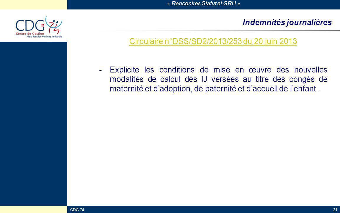 « Rencontres Statut et GRH » CDG 7421 Indemnités journalières Circulaire n°DSS/SD2/2013/253 du 20 juin 2013 -Explicite les conditions de mise en œuvre