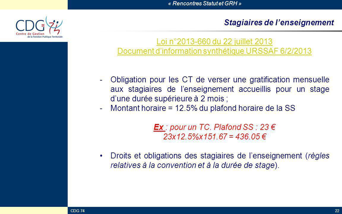 « Rencontres Statut et GRH » CDG 7422 Stagiaires de l'enseignement Loi n°2013-660 du 22 juillet 2013 Document d'information synthétique URSSAF 6/2/201