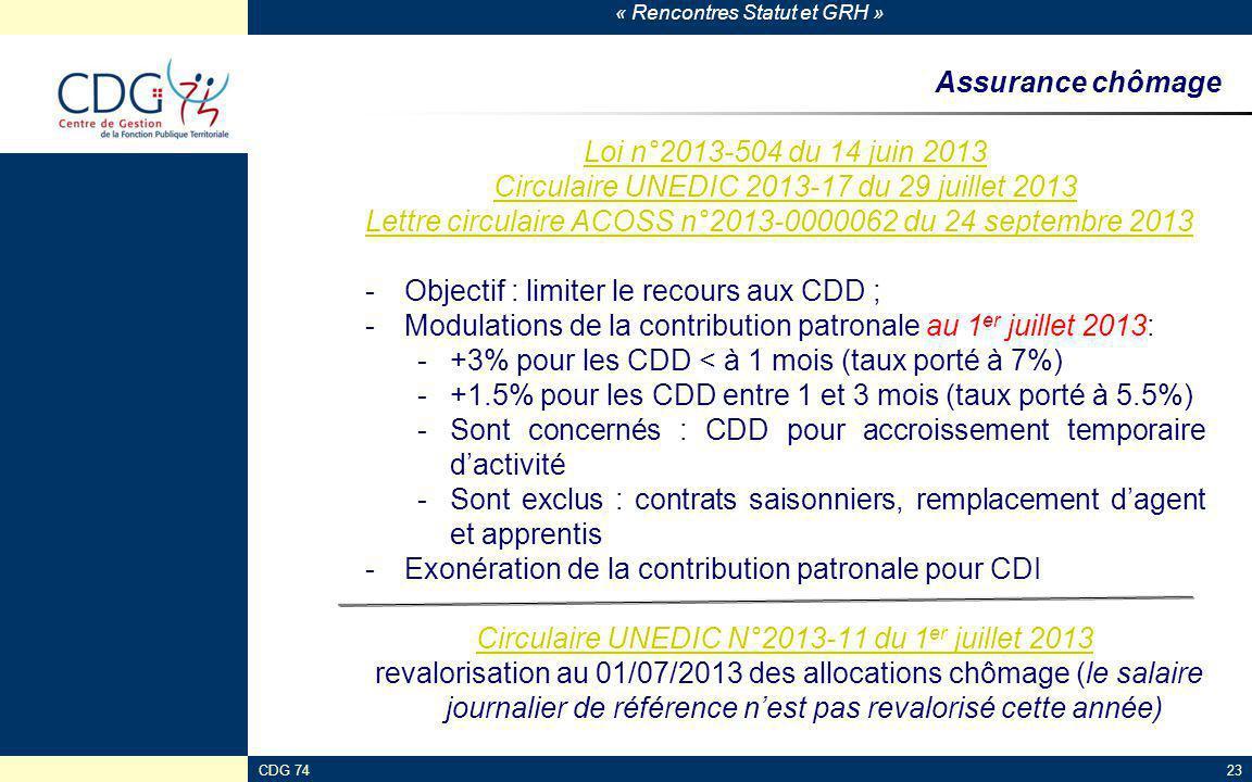 « Rencontres Statut et GRH » CDG 7423 Assurance chômage Loi n°2013-504 du 14 juin 2013 Circulaire UNEDIC 2013-17 du 29 juillet 2013 Lettre circulaire