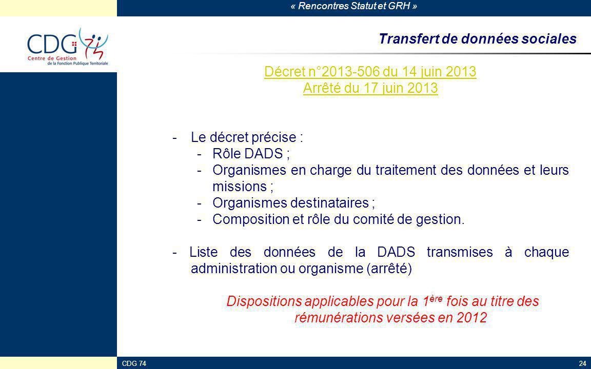 « Rencontres Statut et GRH » CDG 7424 Transfert de données sociales Décret n°2013-506 du 14 juin 2013 Arrêté du 17 juin 2013 -Le décret précise : -Rôl