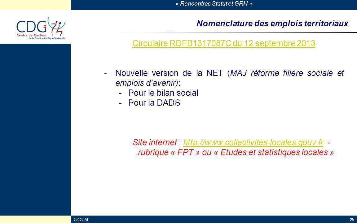 « Rencontres Statut et GRH » CDG 7425 Nomenclature des emplois territoriaux Circulaire RDFB1317087C du 12 septembre 2013 -Nouvelle version de la NET (