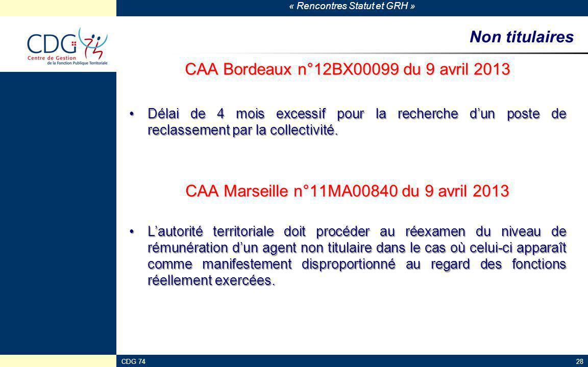 « Rencontres Statut et GRH » CDG 7428 Non titulaires CAA Bordeaux n°12BX00099 du 9 avril 2013 Délai de 4 mois excessif pour la recherche d'un poste de