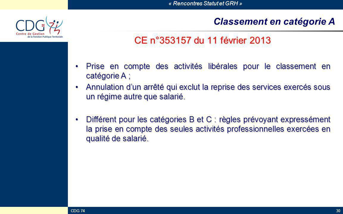 « Rencontres Statut et GRH » CDG 7430 Classement en catégorie A CE n°353157 du 11 février 2013 Prise en compte des activités libérales pour le classem