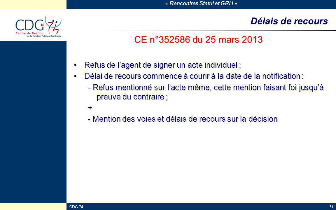 « Rencontres Statut et GRH » CDG 7431 Délais de recours CE n°352586 du 25 mars 2013 Refus de l'agent de signer un acte individuel ;Refus de l'agent de