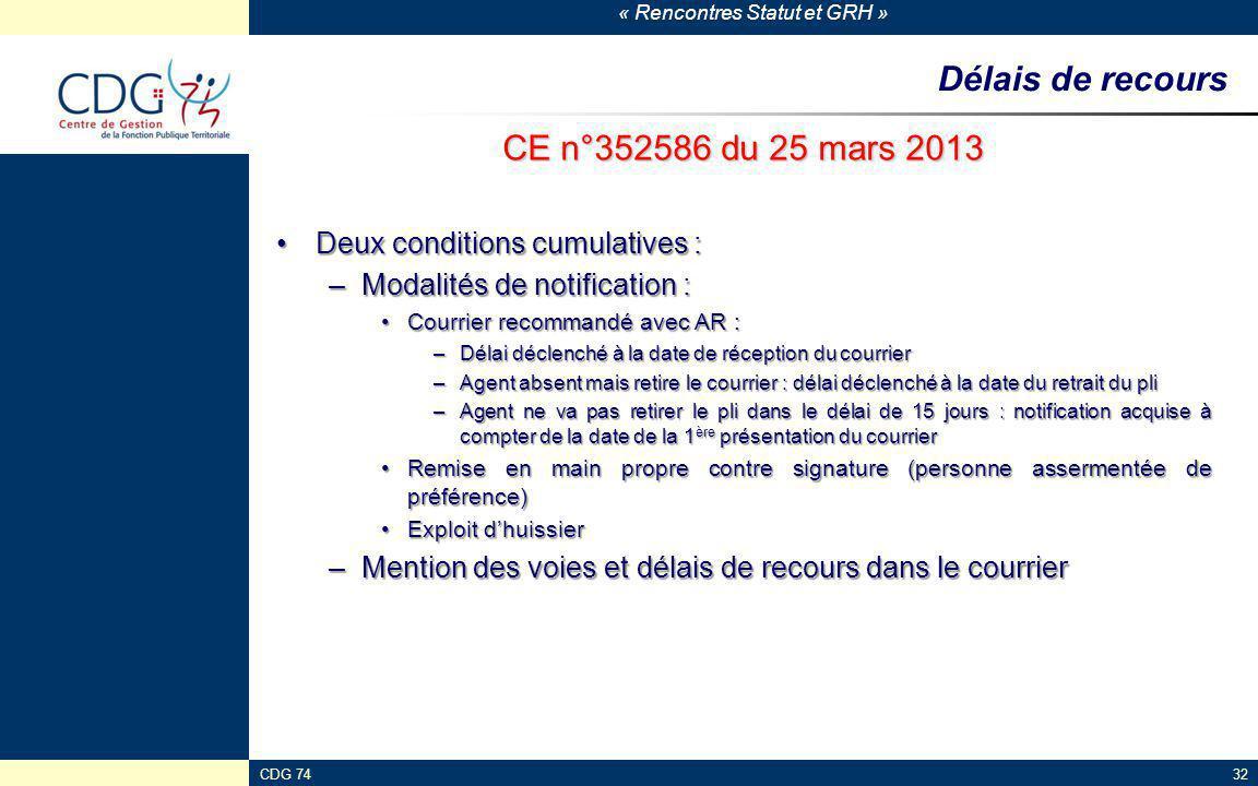 « Rencontres Statut et GRH » CDG 7432 Délais de recours CE n°352586 du 25 mars 2013 Deux conditions cumulatives :Deux conditions cumulatives : –Modali