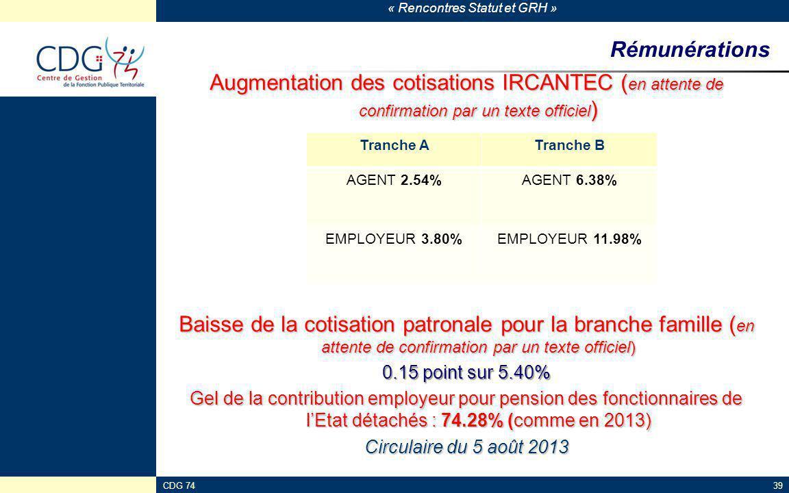 « Rencontres Statut et GRH » CDG 7439 Rémunérations Augmentation des cotisations IRCANTEC ( en attente de confirmation par un texte officiel ) Baisse