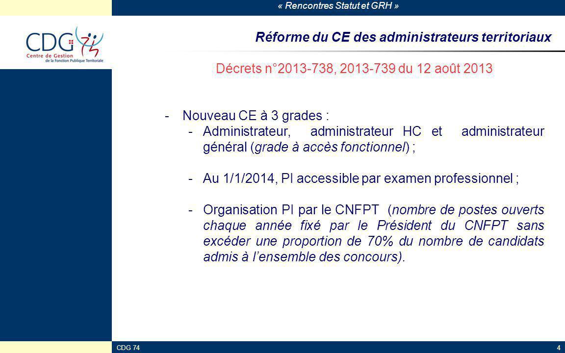 « Rencontres Statut et GRH » CDG 744 Réforme du CE des administrateurs territoriaux Décrets n°2013-738, 2013-739 du 12 août 2013 -Nouveau CE à 3 grade