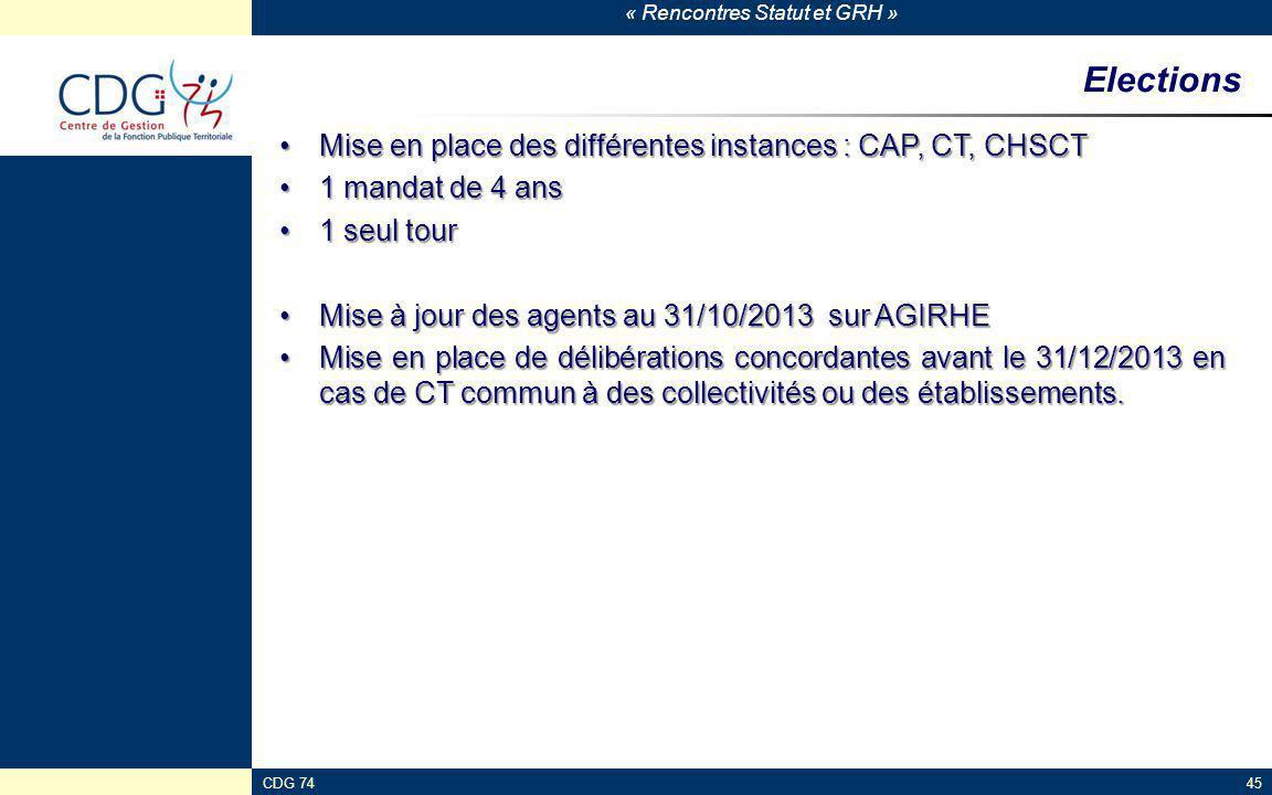 « Rencontres Statut et GRH » CDG 7445 Elections Mise en place des différentes instances : CAP, CT, CHSCTMise en place des différentes instances : CAP,