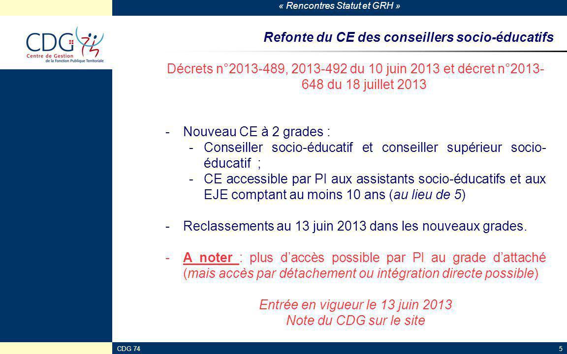 « Rencontres Statut et GRH » CDG 745 Refonte du CE des conseillers socio-éducatifs Décrets n°2013-489, 2013-492 du 10 juin 2013 et décret n°2013- 648
