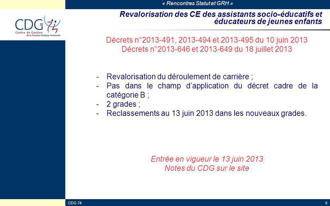« Rencontres Statut et GRH » CDG 746 Revalorisation des CE des assistants socio-éducatifs et éducateurs de jeunes enfants Décrets n°2013-491, 2013-494