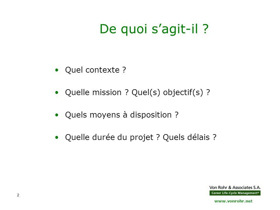 www.vonrohr.net 2 De quoi s'agit-il ? Quel contexte ? Quelle mission ? Quel(s) objectif(s) ? Quels moyens à disposition ? Quelle durée du projet ? Que