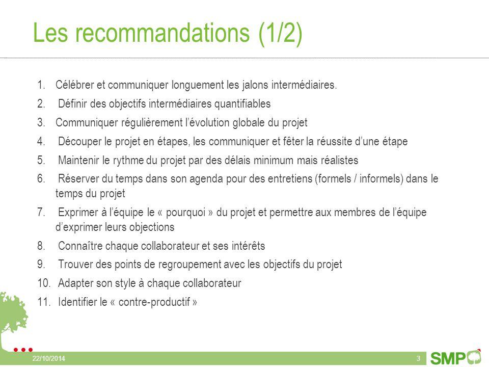 Les recommandations (2/2) 12.Expliquer et adapter les objectifs, la démarche, le plan et le rôle de chacun de façon à impliquer et donner du sens à tous dans le projet et au-delà du projet 13.