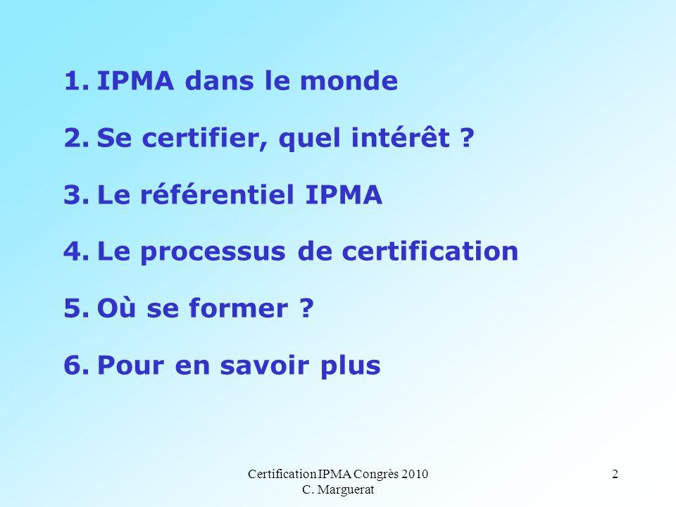 Certification IPMA Congrès 2010 C. Marguerat 2 1.IPMA dans le monde 2.Se certifier, quel intérêt .
