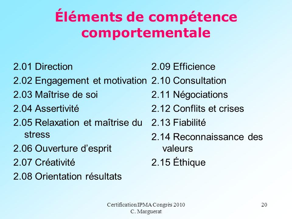 Certification IPMA Congrès 2010 C. Marguerat 20 Éléments de compétence comportementale 2.01 Direction 2.02 Engagement et motivation 2.03 Maîtrise de s