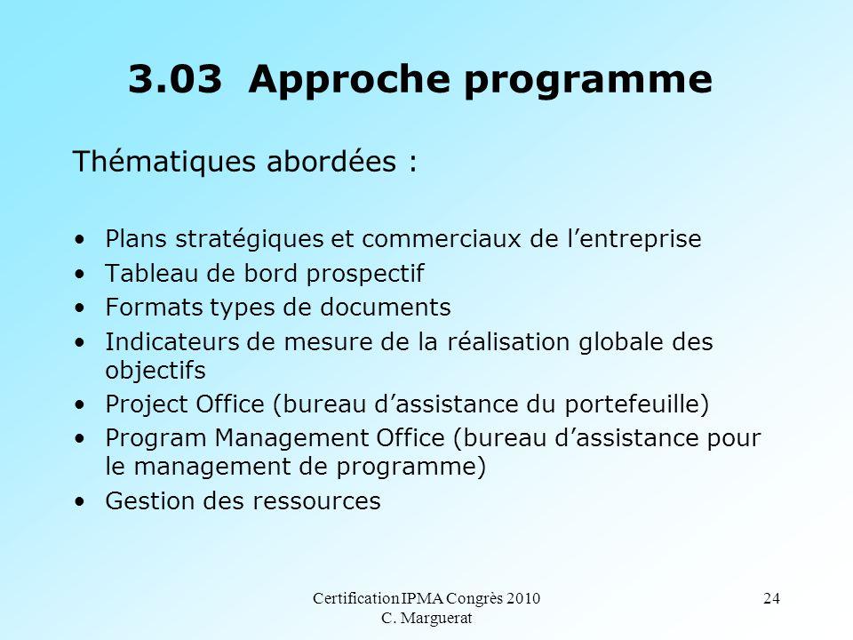 Certification IPMA Congrès 2010 C. Marguerat 24 3.03 Approche programme Thématiques abordées : Plans stratégiques et commerciaux de l'entreprise Table