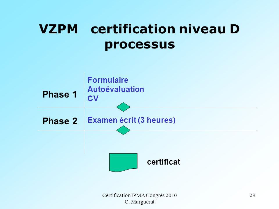 Certification IPMA Congrès 2010 C. Marguerat 29 VZPM certification niveau D processus Phase 1 Phase 2 Formulaire Autoévaluation CV Examen écrit (3 heu