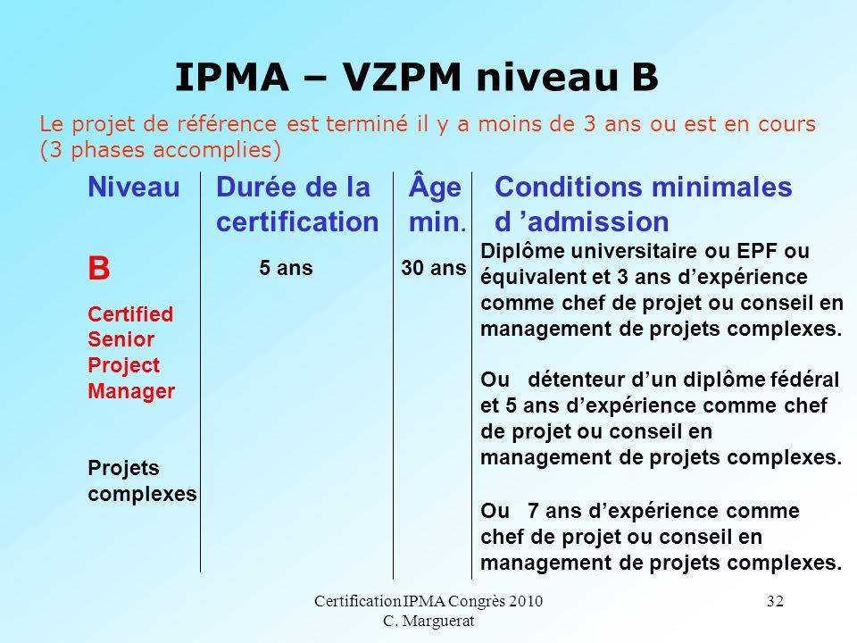 Certification IPMA Congrès 2010 C. Marguerat 32 IPMA – VZPM niveau B B Certified Senior Project Manager Projets complexes 5 ans 30 ans Diplôme univers