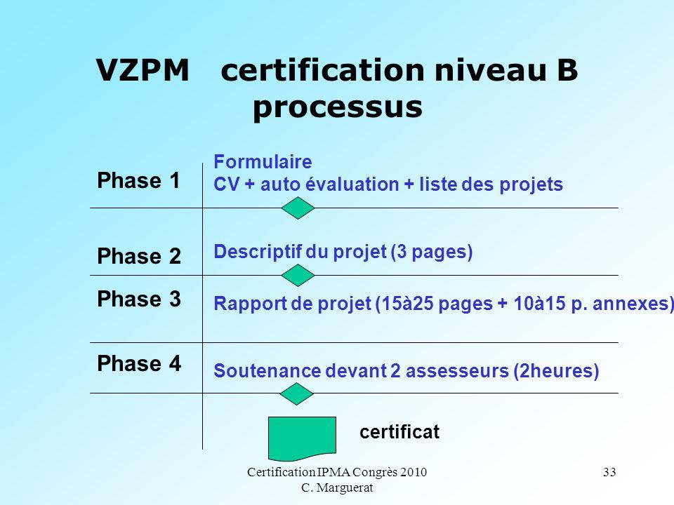 Certification IPMA Congrès 2010 C. Marguerat 33 VZPM certification niveau B processus Phase 1 Phase 2 Phase 3 Phase 4 Formulaire CV + auto évaluation