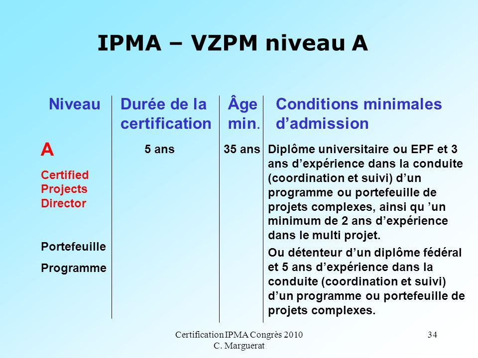 Certification IPMA Congrès 2010 C. Marguerat 34 IPMA – VZPM niveau A A Certified Projects Director Portefeuille Programme 5 ans 35 ans Diplôme univers