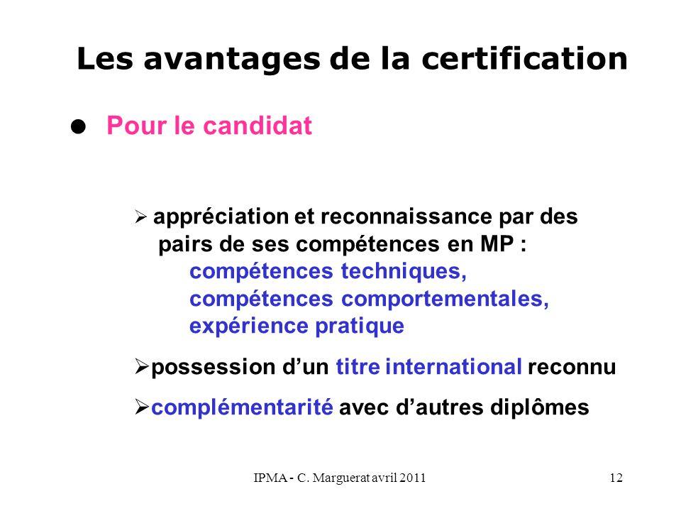 IPMA - C. Marguerat avril 201112 Les avantages de la certification  Pour le candidat  appréciation et reconnaissance par des pairs de ses compétence