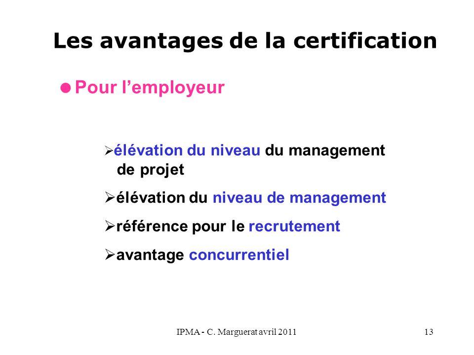 IPMA - C. Marguerat avril 201113 Les avantages de la certification  Pour l'employeur  élévation du niveau du management de projet  élévation du niv