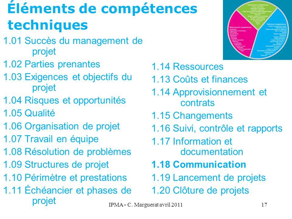 IPMA - C. Marguerat avril 201117 Éléments de compétences techniques 1.01 Succès du management de projet 1.02 Parties prenantes 1.03 Exigences et objec