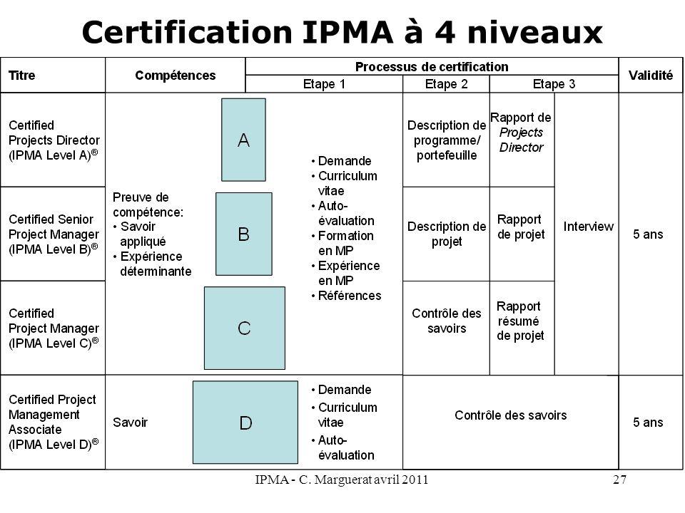 Certification IPMA à 4 niveaux IPMA - C. Marguerat avril 201127