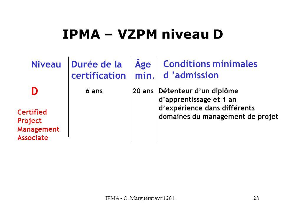 IPMA - C. Marguerat avril 201128 IPMA – VZPM niveau D D 6 ans 20 ans NiveauDurée de la certification Âge min. Conditions minimales d 'admission Détent