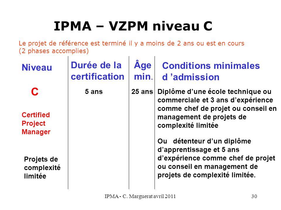 IPMA - C. Marguerat avril 201130 IPMA – VZPM niveau C C 5 ans 25 ans Diplôme d'une école technique ou commerciale et 3 ans d'expérience comme chef de