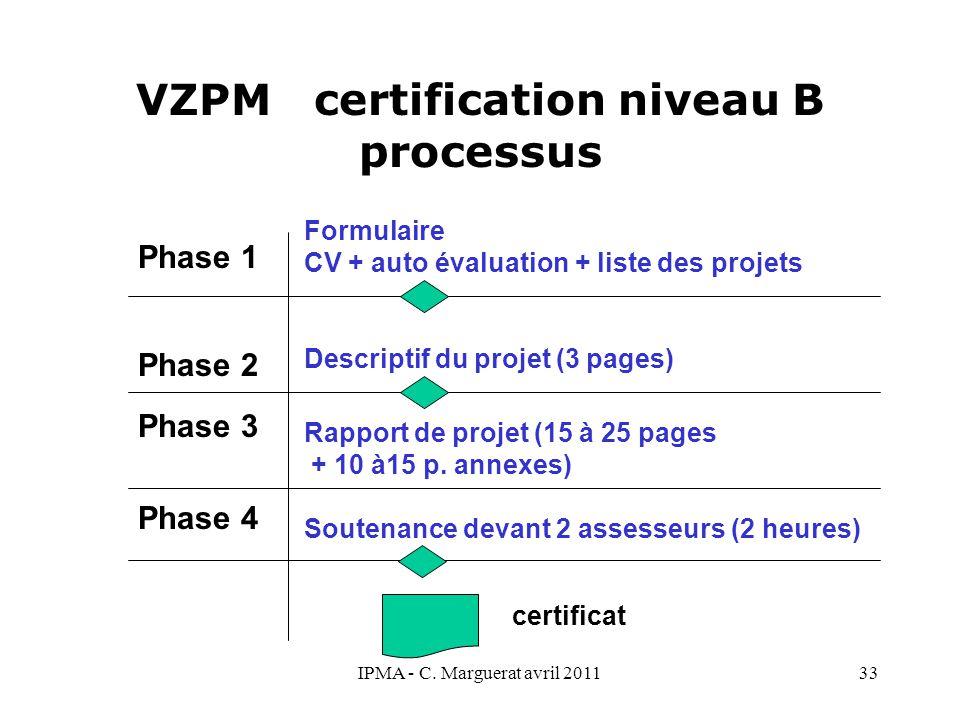 IPMA - C. Marguerat avril 201133 VZPM certification niveau B processus Phase 1 Phase 2 Phase 3 Phase 4 Formulaire CV + auto évaluation + liste des pro