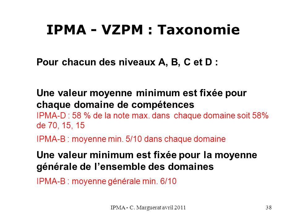 IPMA - C. Marguerat avril 201138 IPMA - VZPM : Taxonomie Pour chacun des niveaux A, B, C et D : Une valeur moyenne minimum est fixée pour chaque domai