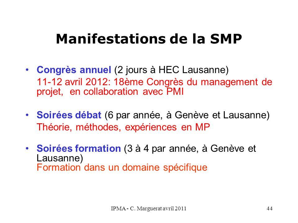 IPMA - C. Marguerat avril 201144 Manifestations de la SMP Congrès annuel (2 jours à HEC Lausanne) 11-12 avril 2012: 18ème Congrès du management de pro
