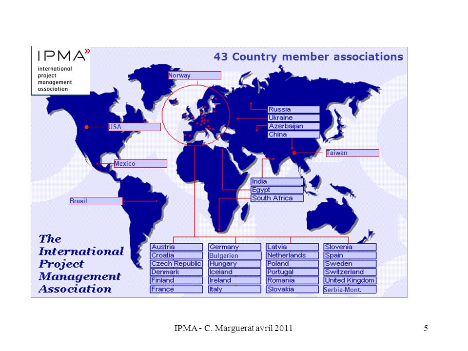IPMA - C.Marguerat avril 20115 USA 43 Country member associations Bulgarien Serbia-Mont.
