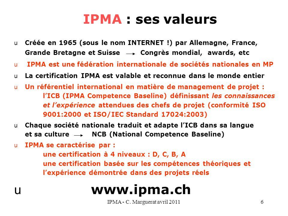 IPMA - C. Marguerat avril 20116 uCréée en 1965 (sous le nom INTERNET !) par Allemagne, France, Grande Bretagne et Suisse Congrès mondial, awards, etc