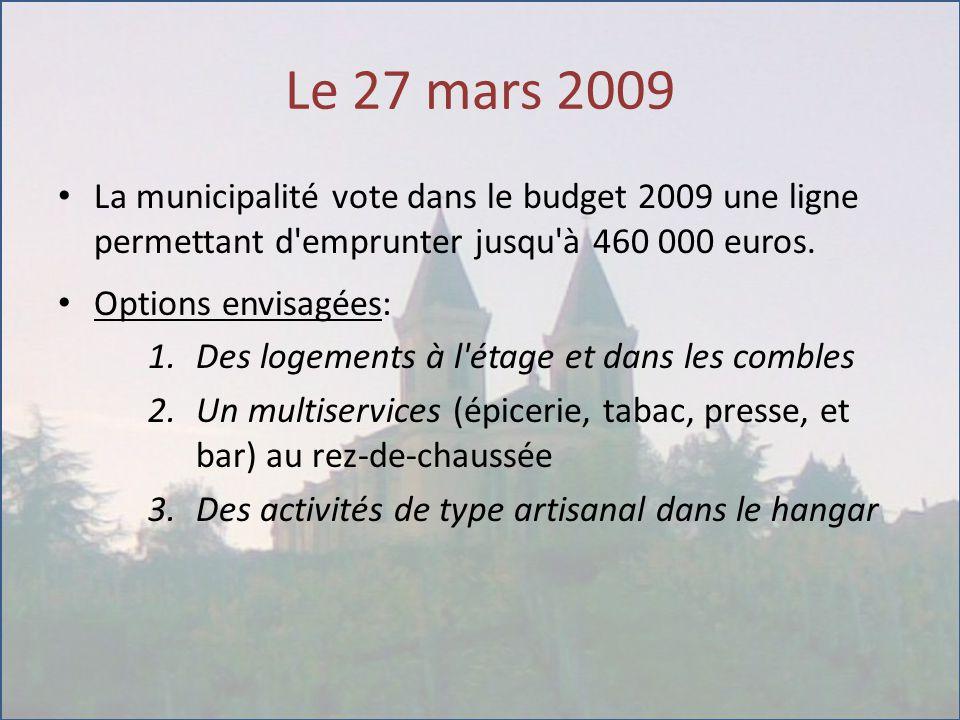 Le 27 mars 2009 La municipalité vote dans le budget 2009 une ligne permettant d emprunter jusqu à 460 000 euros.