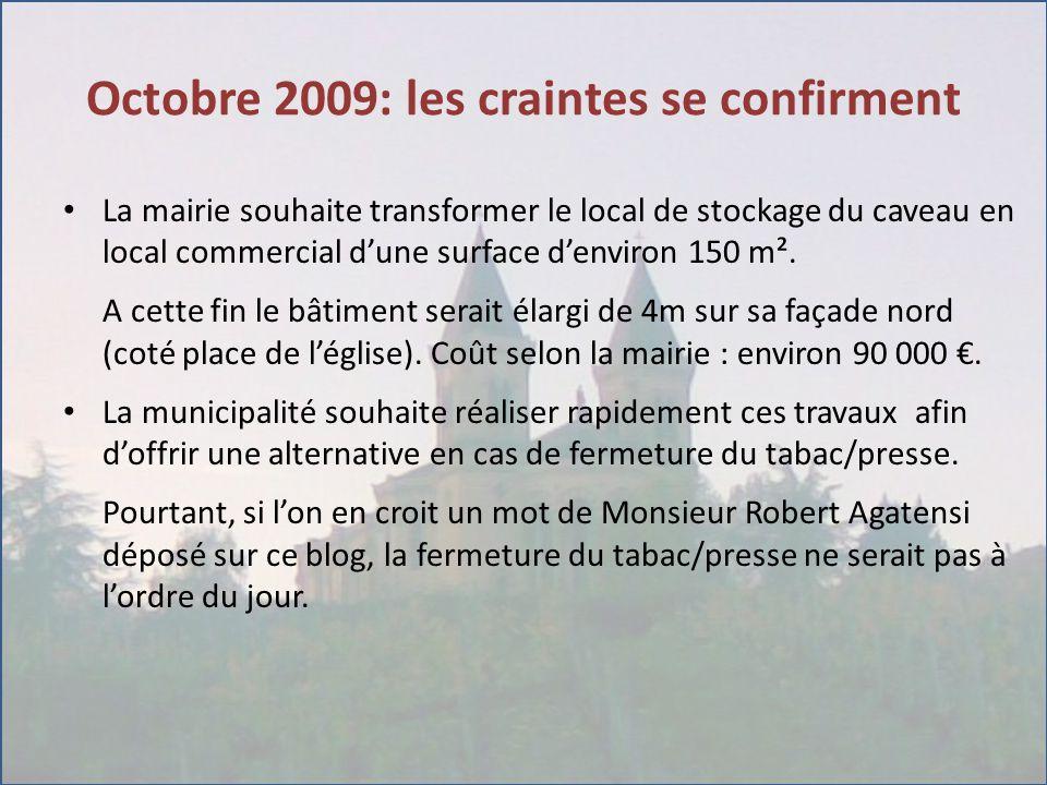 Octobre 2009: les craintes se confirment La mairie souhaite transformer le local de stockage du caveau en local commercial d'une surface d'environ 150 m².