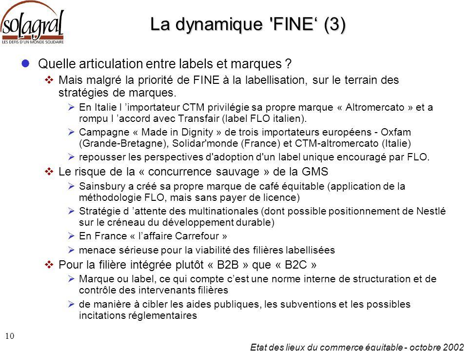 Etat des lieux du commerce équitable - octobre 2002 10 La dynamique FINE' (3) Quelle articulation entre labels et marques .