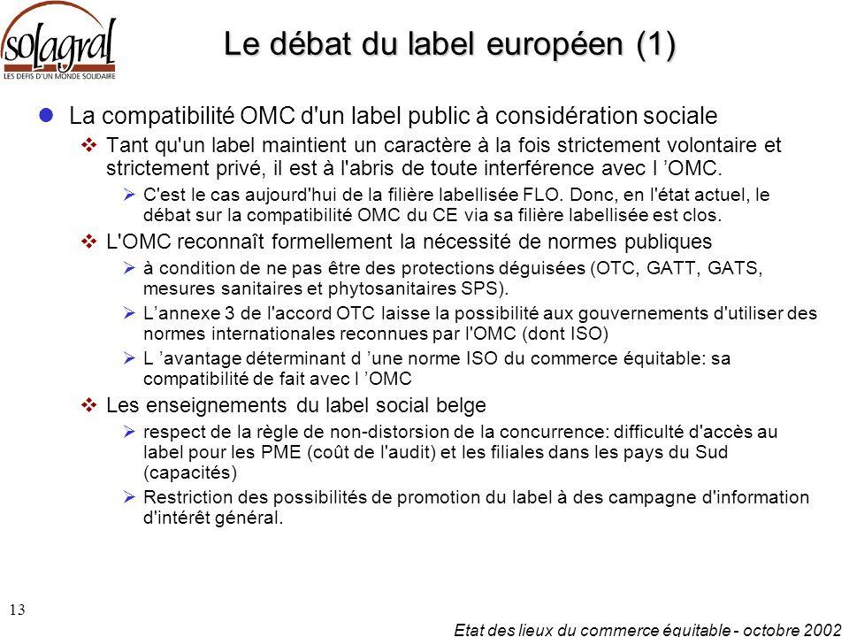 Etat des lieux du commerce équitable - octobre 2002 13 Le débat du label européen (1) La compatibilité OMC d un label public à considération sociale  Tant qu un label maintient un caractère à la fois strictement volontaire et strictement privé, il est à l abris de toute interférence avec l 'OMC.