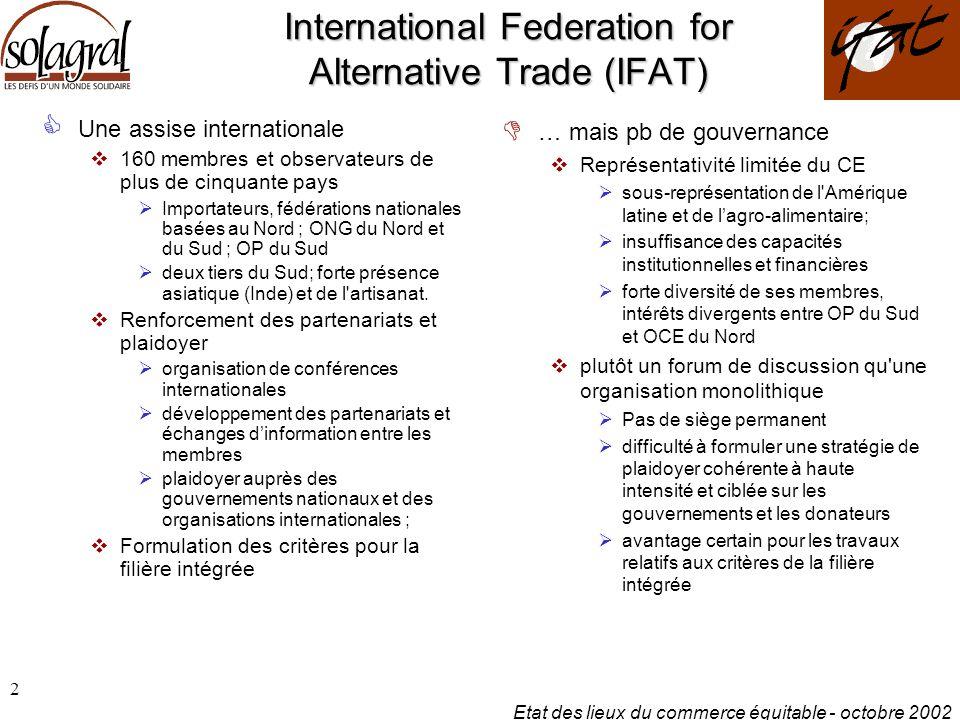 Etat des lieux du commerce équitable - octobre 2002 3 European Fair Trade Association (EFTA) Un syndicat d entrepreneurs du CE  Basé à BXL, regroupe 12 importateurs de neuf pays européens  EZA Dritte Welt (Autriche), Magasins du Monde-OXFAM & Oxfam Wereldwinkels VZW (Belgique), Solidar Monde (France), GEPA (Allemagne), Ctm Altromercato (Italie), Fair Trade Organisatie (Pays-Bas), Intermon Oxfam & IDEAS (Espagne), Claro (Suisse), Oxfam Market Access Team (R.U.), Traidcraft Plc (R.U.)  Un système d information interne Fairdata Formule la stratégie commune des importateurs  des intérêts similaires et clairement définis plaidoyer auprès des décideurs européens et campagnes de sensibilisation  achats publics  Fiscalisation particulière Deux publications de référence  Fair Trade Facts & Figures  Fair Trade Yearbook - Challenges of Fair Trade .