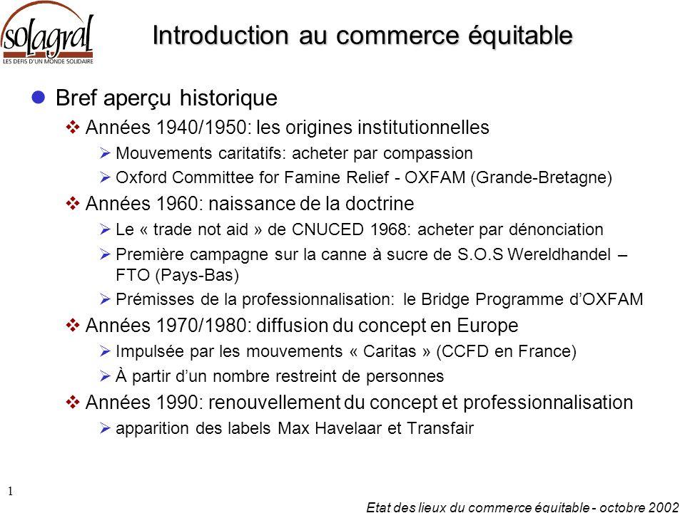 Etat des lieux du commerce équitable - octobre 2002 1 Introduction au commerce équitable Bref aperçu historique  Années 1940/1950: les origines insti