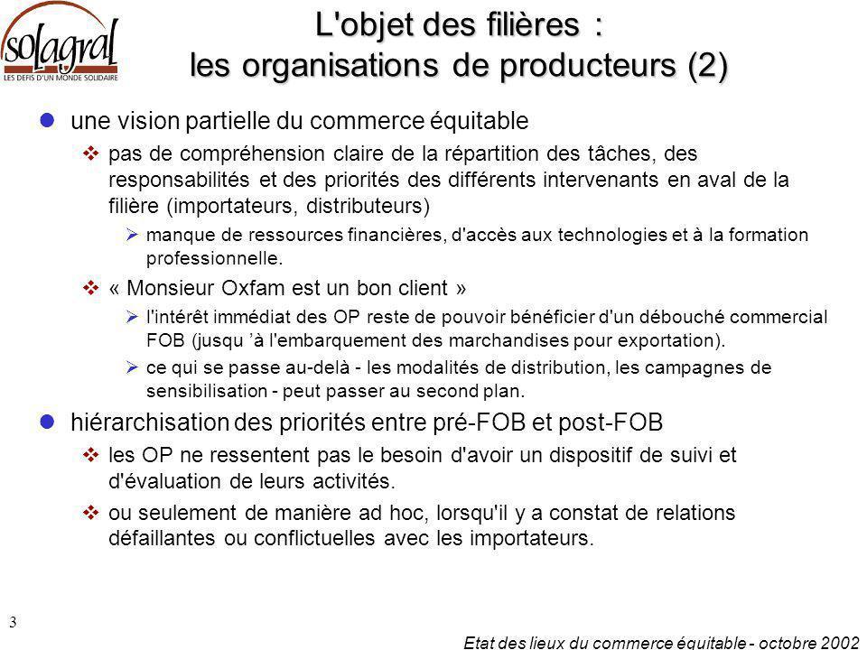 Etat des lieux du commerce équitable - octobre 2002 3 L'objet des filières : les organisations de producteurs (2) une vision partielle du commerce équ