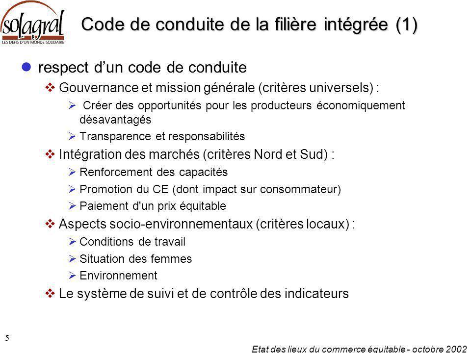 Etat des lieux du commerce équitable - octobre 2002 5 Code de conduite de la filière intégrée (1) respect d'un code de conduite  Gouvernance et missi